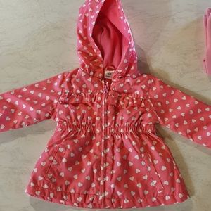 *Size 0 pink hooded jacket with hearts